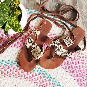 FREE PEOPLE Gladiator Boho Lace Up Tie Up Sandals